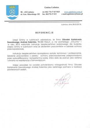 Referencje od Gminy Łubnice