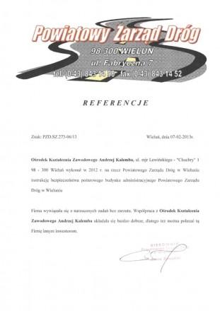 Referencje Powiatowy Zarząd Dróg w Wieluniu