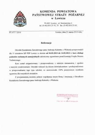 Referencje od PSP Łowicz