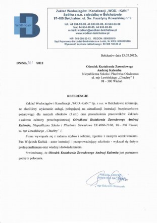 Referencje Zakład Wodociągów i Kanalizacji Bełchatów
